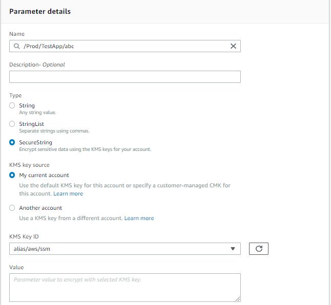 add keys through AWS SSM Console