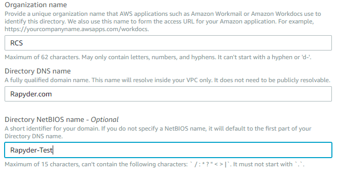 AWS AD step 1.1 - Integrating AWS Workspace with Simple AD